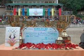 The Tibetan Olympics winners trophies