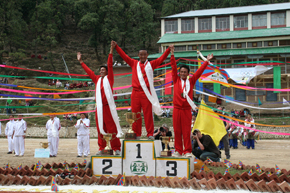 The men medal winners of Tibetan Olympics 2008