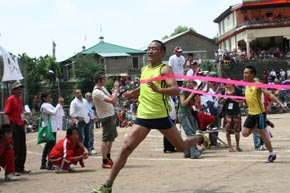 Dorji Tsering coming first in the 80-metres dash